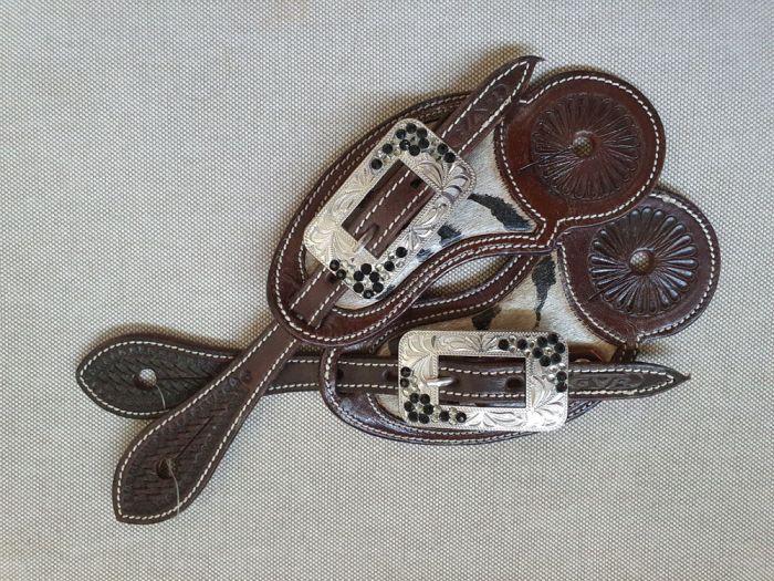 Custom Spurstrap with CowHide Inlay - Zebra