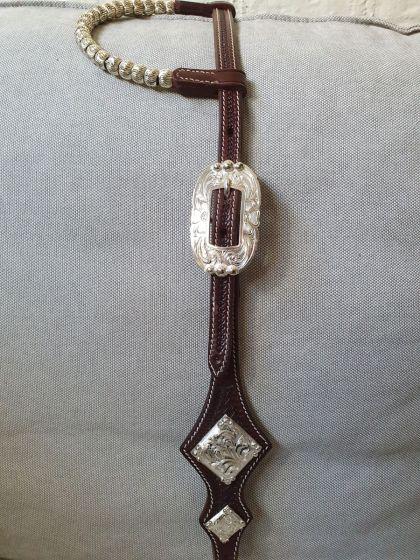 Custom Two Ear Headstall with Hansen Silver Zuni Buckles and Alamo Conchos