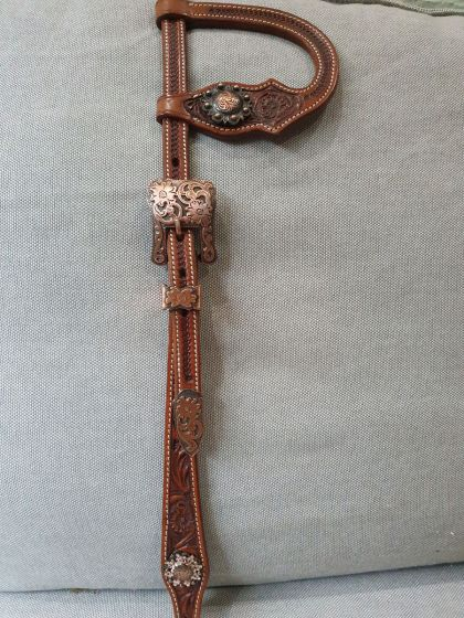 Custom Two Ear Headstall Antique Chestnut with Flower Tooling - Antique Copper/Peach
