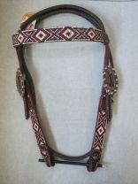 Custom Browband Hoofdstel met AZTEC beads - Antiek Koper