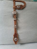 Custom Two Ear Headstall Antique Russet with Flower Tooling - Antique Copper/White