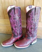 Bull's Eye Boots Square Toe and Medium High Shaft - Pink