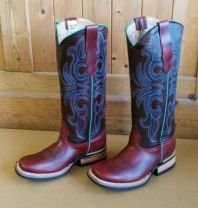 Bull's Eye Boots Square Toe And Medium High Shaft - Turquoise