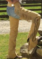 Black Suede Double Concho Show Chaps  X-Small