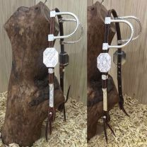 Two Ear Headstall with Silver buckles, earpieces and cheekpieces
