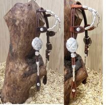 Two Ear Headstall With SILVER buckles, silver barrel earpieces and cheekpieces and silver conchos