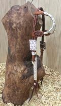 Two Ear Headstall With Silver buckles, silver barrel earpieces and silver plate cheekpieces