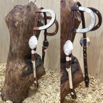 Two Ear Headstall with SILVER buckles, silver plate earpieces and cheekpieces