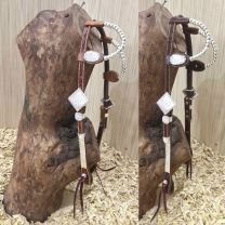 Two Ear Headstall With Silver bubble buckles, earpieces and cheekpieces